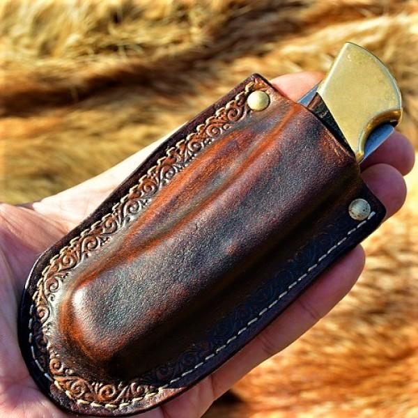 Кожаные ножны под BUCK 110 вертикальный подвес цвет антик дарк MS22 на заказ