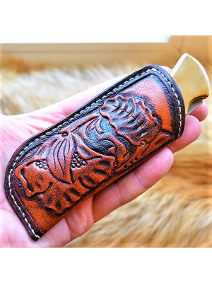 Кожаные ножны под BUCK 110 вертикальный подвес цвет антик садле тан MS23 на заказ