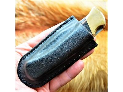 Кожаные ножны под BUCK 110 вертикальный подвес цвет блэк MS24 на заказ