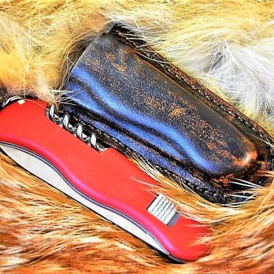 Кожаные ножны для складного ножа  подвес клипса цвет антик браун MS2-1 на заказ