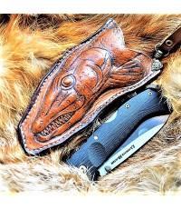 """Ножны (чехол) для складного ножа """"Щука"""" кожа РД, ручная работа, на заказ арт. MS-15"""