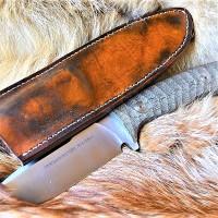 Ножны кожаные для ножа с фиксированным клинком цвет винтаж дарк браун арт НЖ5