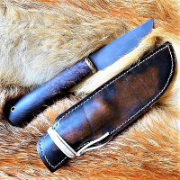 Ножны кожаные для ножа с фиксированным клинком цвет винтаж дарк тан арт НЖ4