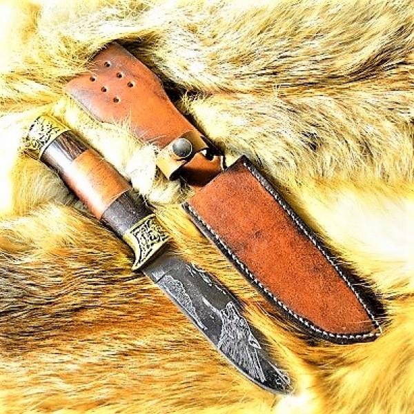 Ножны кожаные для ножа с фиксированным клинком цвет винтаж дарк тан арт НЖ6