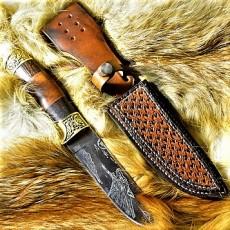 Ножны кожаные для ножа с фиксированным клинком цвет винтаж дарк тан арт НЖ6-1