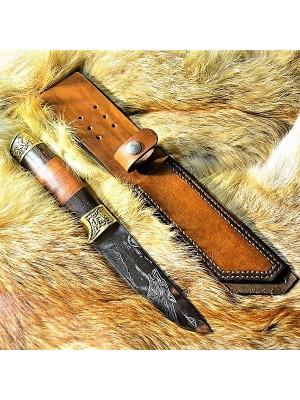 Ножны кожаные для ножа с фиксированным клинком цвет винтаж дарк браун арт НЖ3