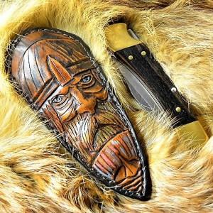 "Ножны (чехол) для складного ножа ""Путь в Вальгалу"" кожа РД, ручная работа, на заказ арт MSA7"
