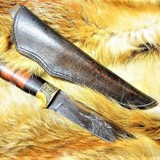 Ножны кожаные для ножа с фиксированным клинком цвет винтаж дарк браун арт НЖ1
