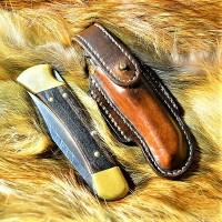 Ножны (чехол) обжимные для складного ножа горизонтальный подвес, цвет винтаж браун арт. MS-20