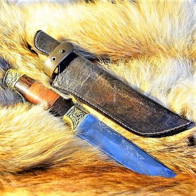 Ножны кожаные для ножа с фиксированным клинком цвет винтаж дарк браун арт НЖ2