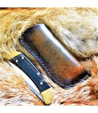 Кожаные ножны под BUCK 110 вертикальный подвес цвет антик дарк MS4-1 на заказ