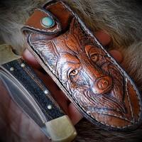 "Ножны (чехол) для складного ножа ""Вервольф"", кожа РД, ручная работа, на заказ арт. MSA21"