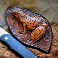 "Ножны (чехол) для складного ножа ""Лягушка"", кожа РД, ручная работа, на заказ арт. MSA24"
