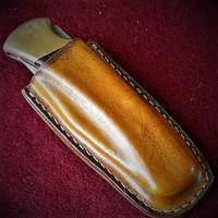 Ножны (чехол) для складного ножа формованные, клипса, вертикальный подвес  кожа РД, ручная работа, на заказ арт. MS2