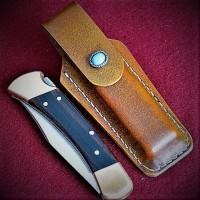Ножны (чехол) для складного ножа, кожа РД, ручная работа, на заказ арт. MS6
