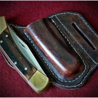 Кожаные ножны для складного ножа BUCK110 вертикальный подвес MS11-1 цвет антик бордо на заказ