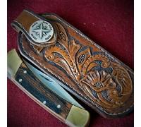 """Ножны (чехол) для складного ножа """"Техасский стиль"""" кожа РД, ручная работа, на заказ арт.MSA5"""