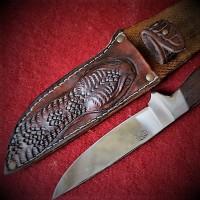 "Ножны (чехол) для складного ножа ""Гремучая змея"""" кожа РД, ручная работа, на заказ арт MSA9"