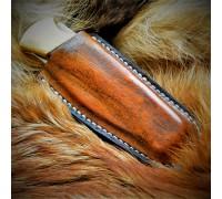 Ножны (чехол) для складного ножа обжимные, горизонтальный подвес кожа РД, ручная работа, на заказ арт. MS3