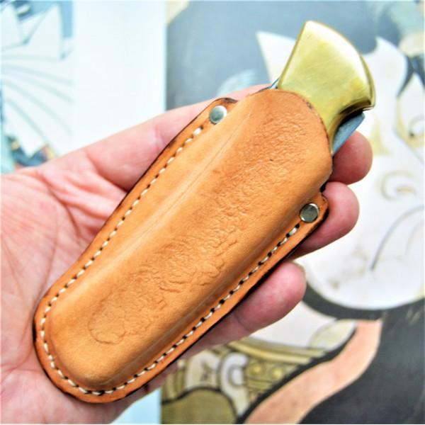 Ножны кожаные для складного ножа с подвесом клипсой арт. klkl8