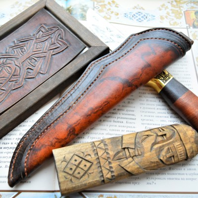 Ножны кожаные для ножа с фиксированным клинком арт et10