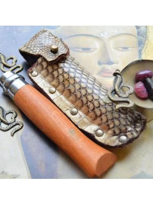 Чехол для складного ножа, кожа кобры et9